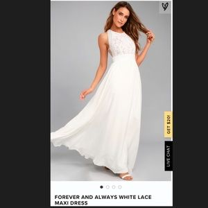 Lulu's Forever and Always Maxi Dress White - Small